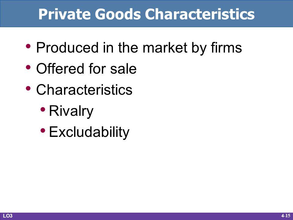 Private Goods Characteristics