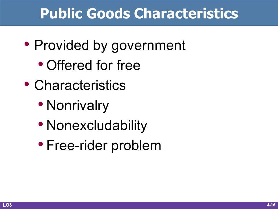 Public Goods Characteristics