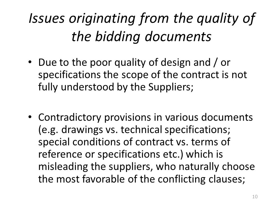 Issues originating from the quality of the bidding documents