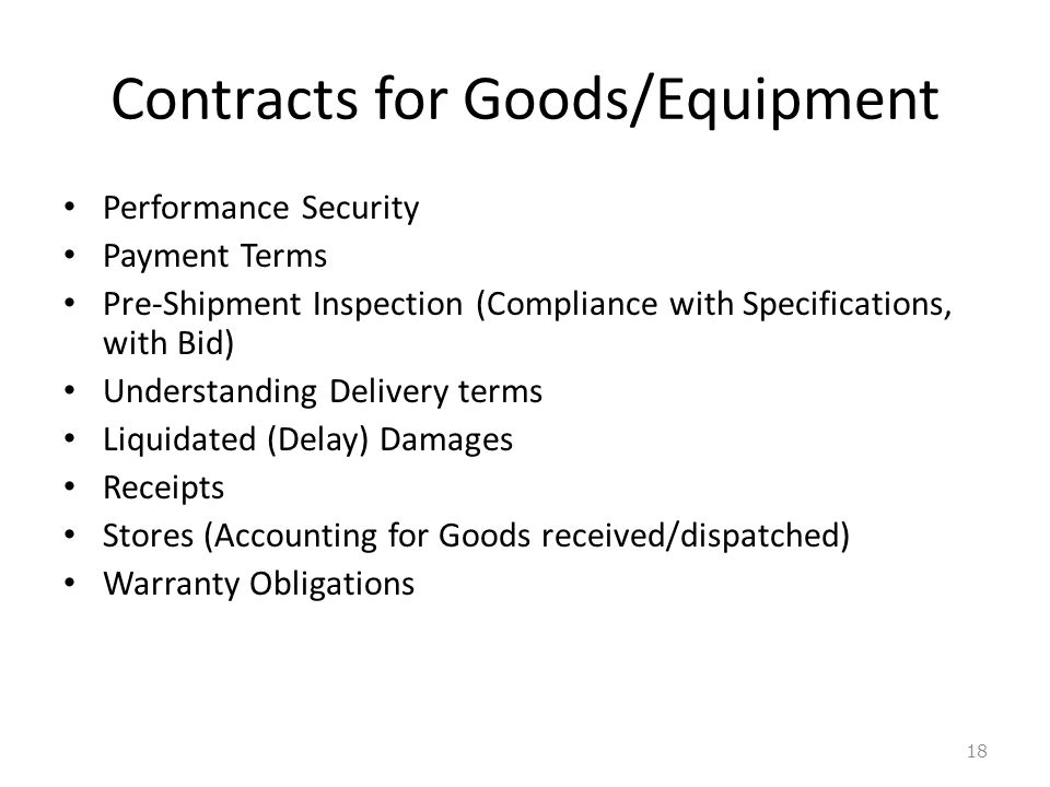 Contracts for Goods/Equipment