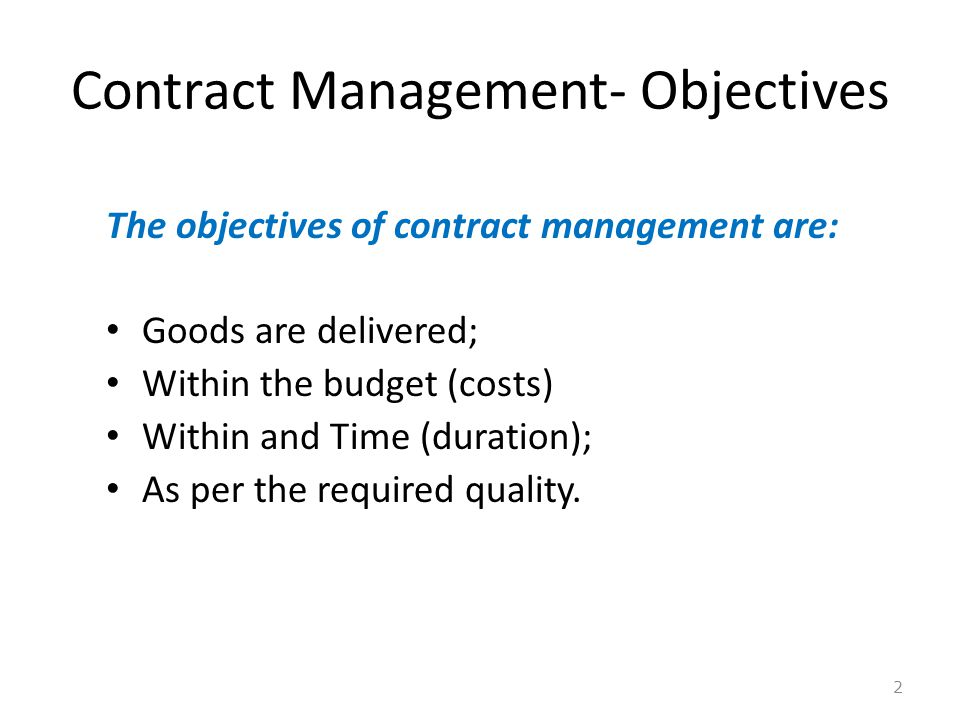 Contract Management- Objectives
