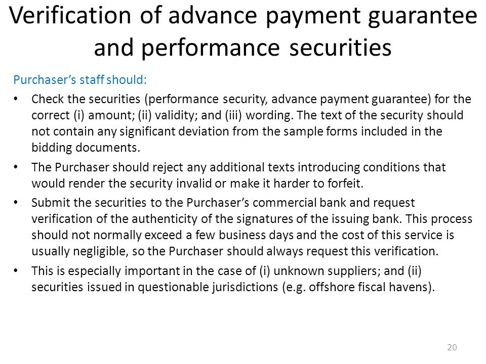 Verification of advance payment guarantee and performance securities