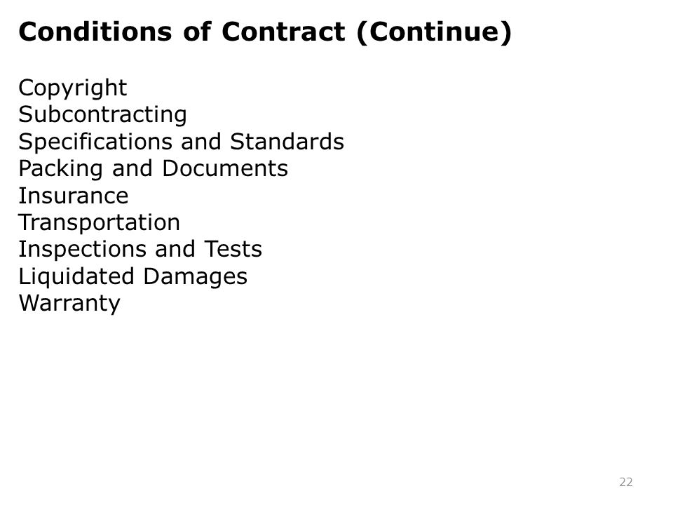Conditions of Contract (Continue)