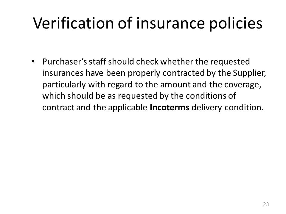 Verification of insurance policies