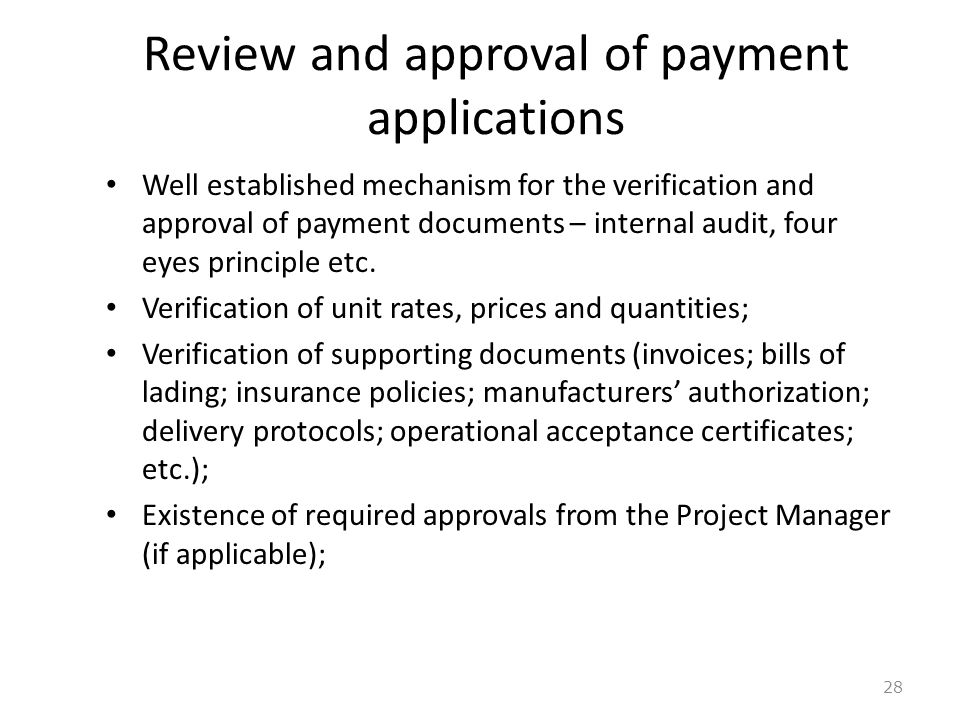 Review and approval of payment applications
