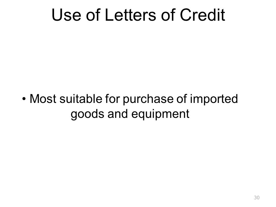 Use of Letters of Credit