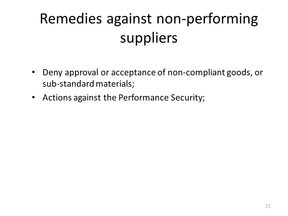 Remedies against non-performing suppliers