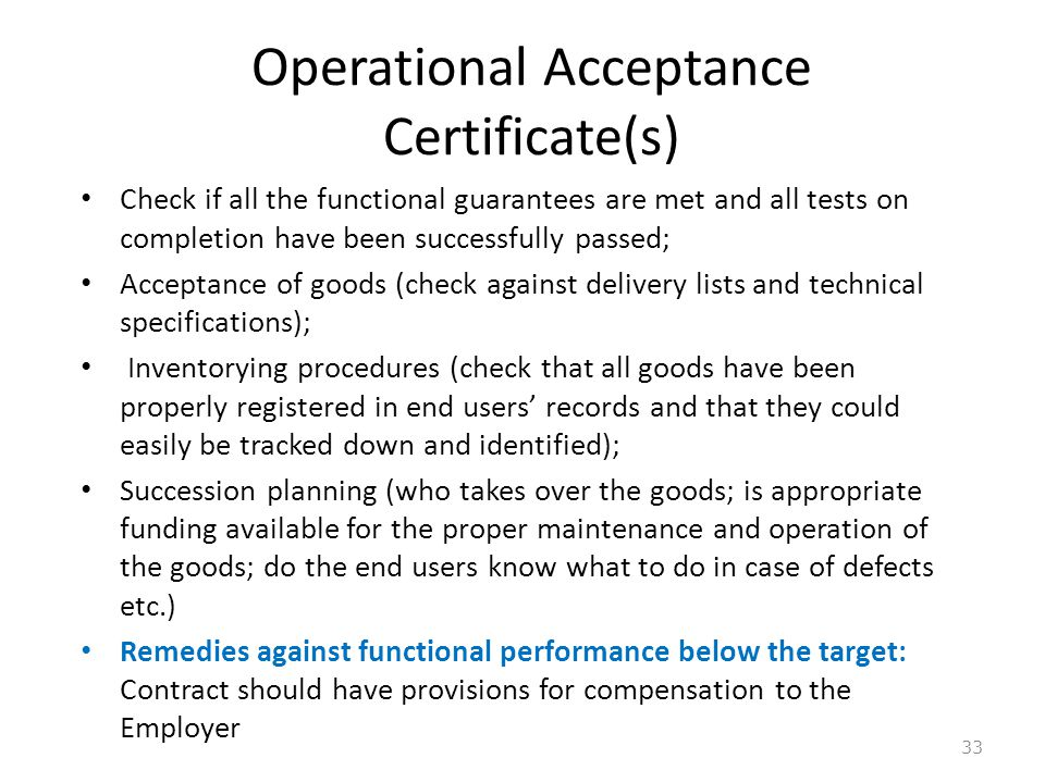 Operational Acceptance Certificate(s)