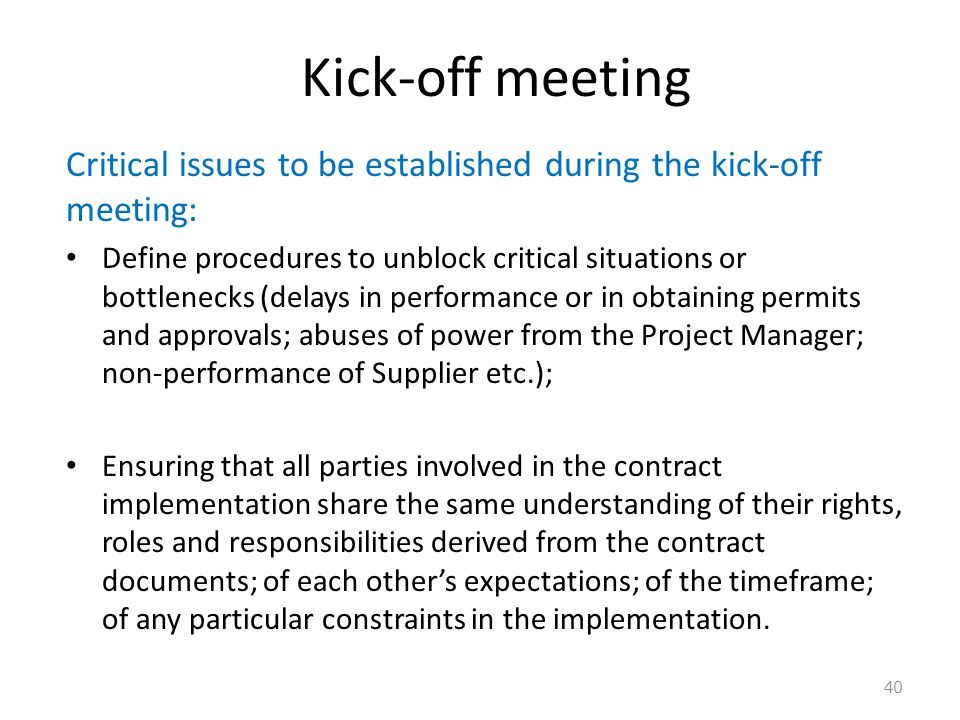 Kick-off meeting Critical issues to be established during the kick-off meeting: