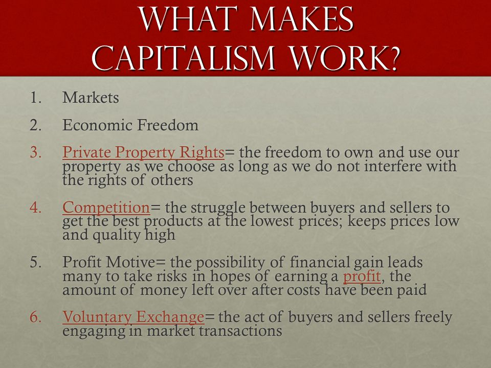 What Makes Capitalism Work