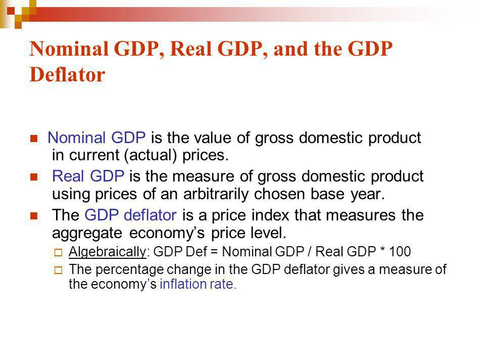 Nominal GDP, Real GDP, and the GDP Deflator