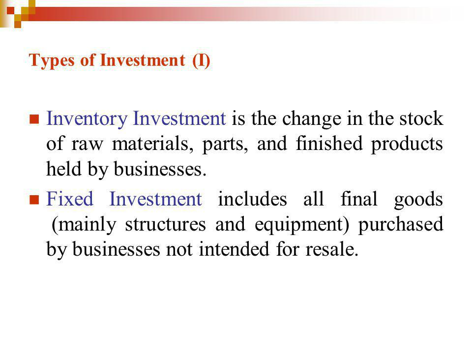 Types of Investment (I)