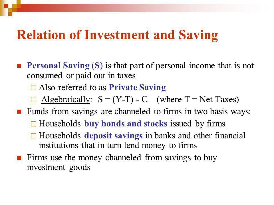 Relation of Investment and Saving