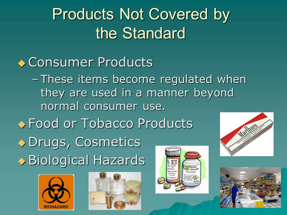 Products Not Covered by the Standard