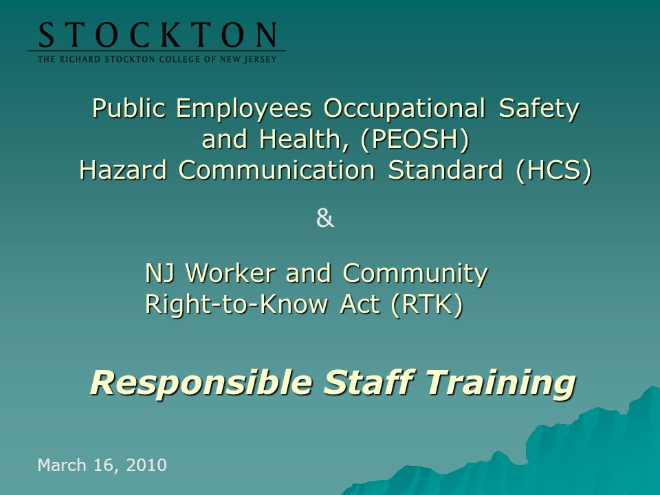 Responsible Staff Training