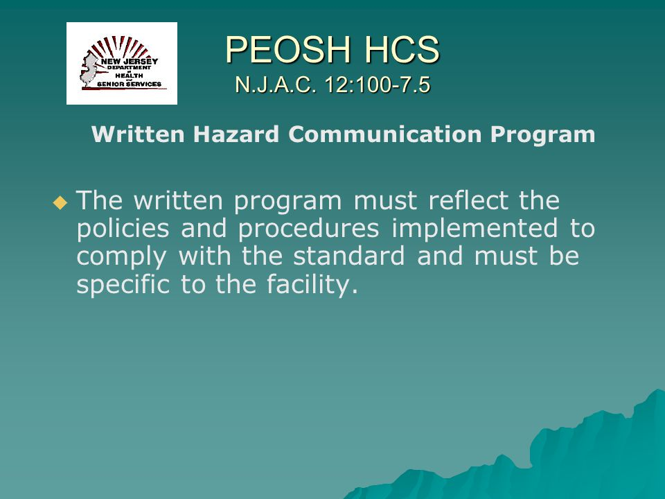 Written Hazard Communication Program