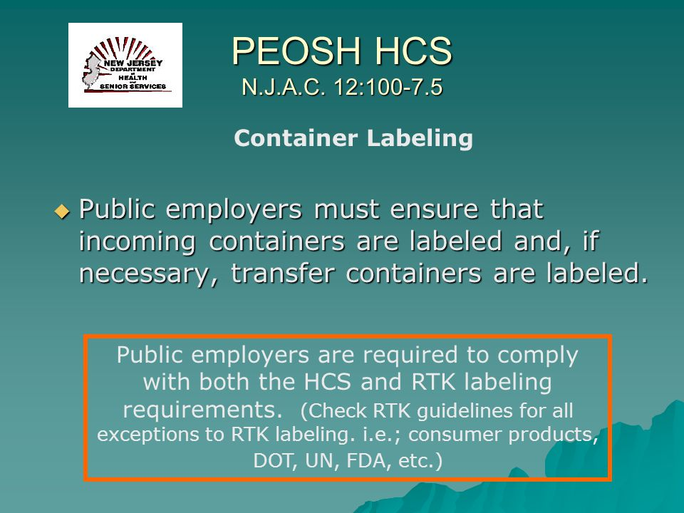PEOSH HCS N.J.A.C. 12:100-7.5 Container Labeling.