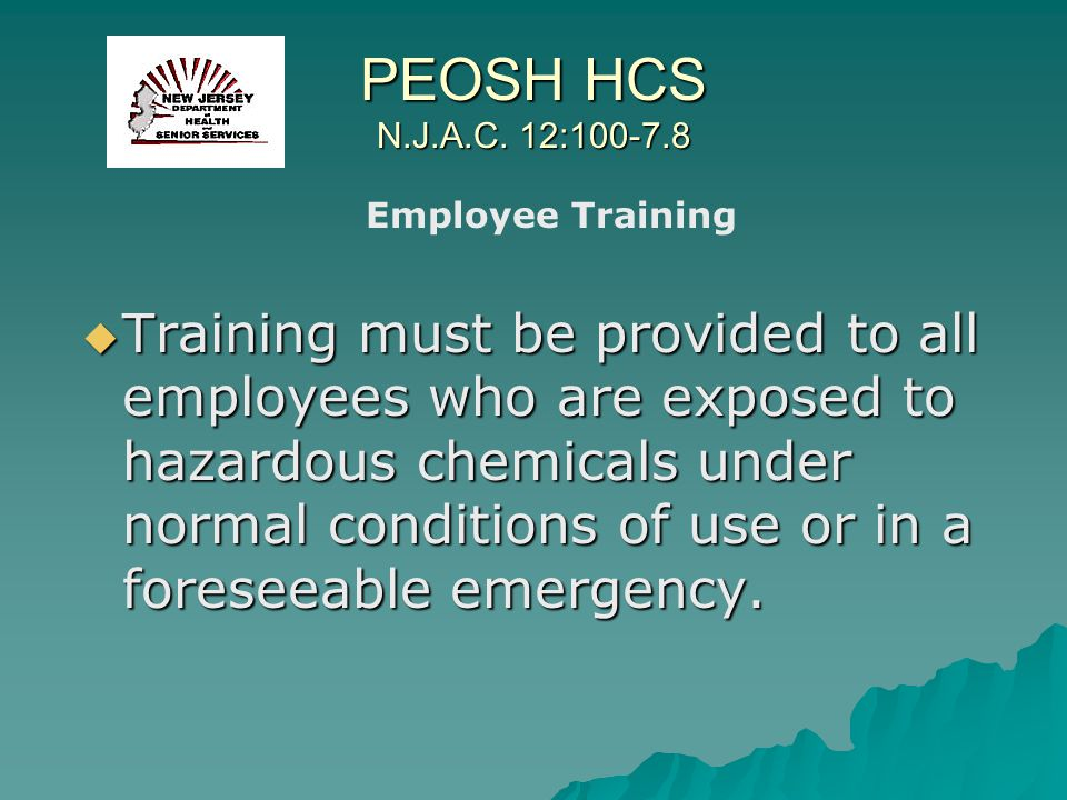 PEOSH HCS N.J.A.C. 12:100-7.8 Employee Training.