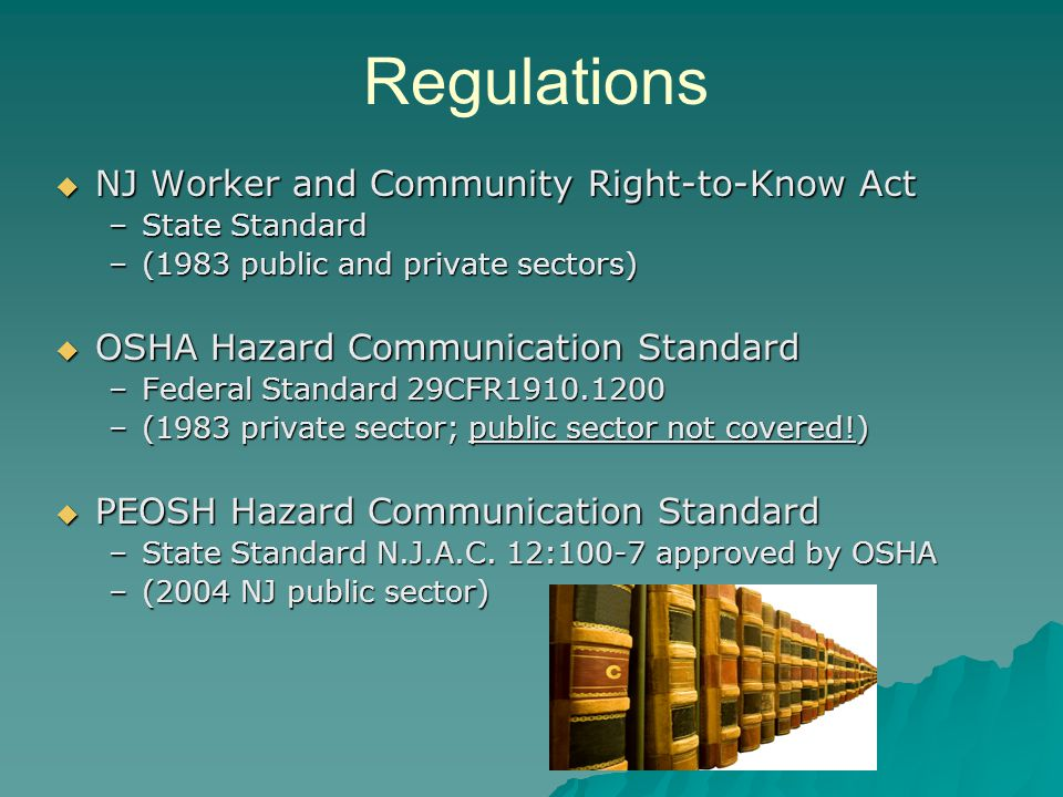 Regulations NJ Worker and Community Right-to-Know Act