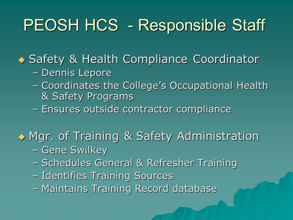 PEOSH HCS - Responsible Staff