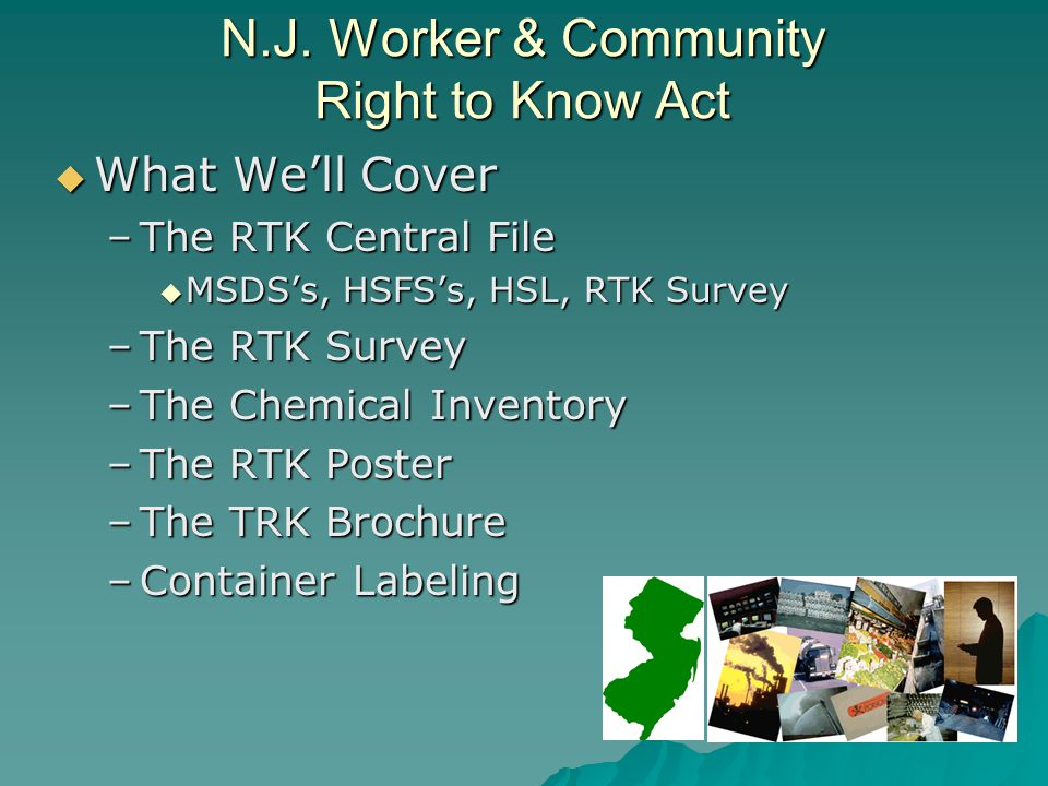 N.J. Worker & Community Right to Know Act