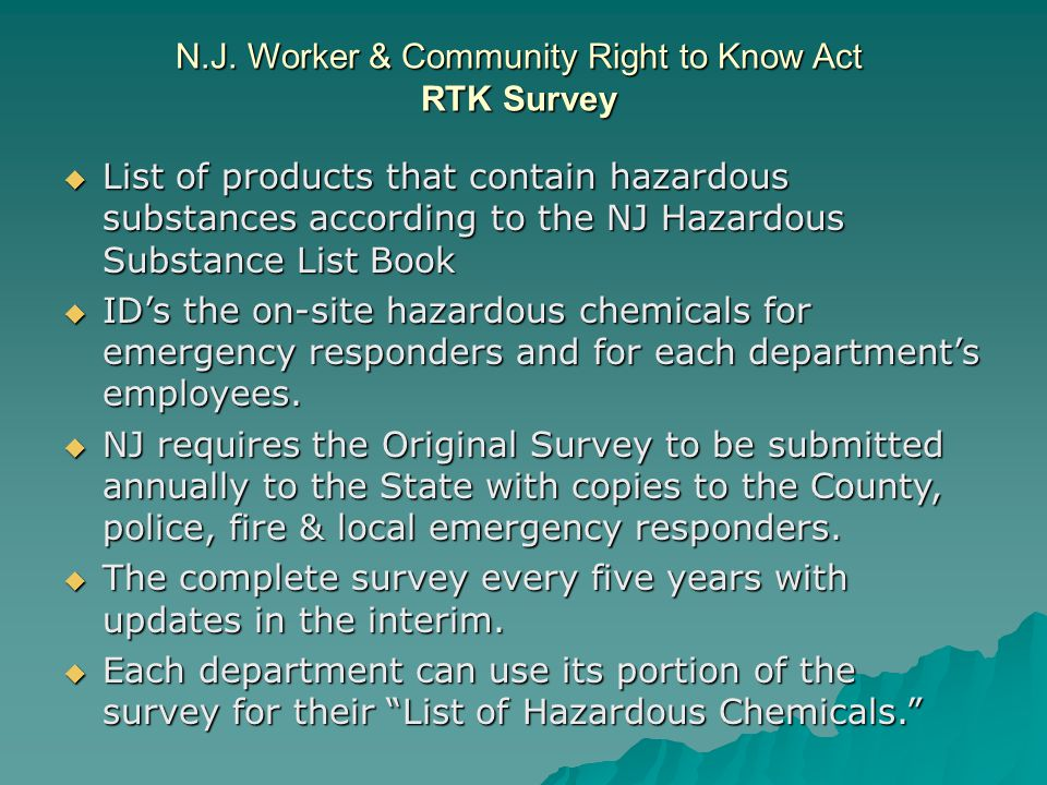 N.J. Worker & Community Right to Know Act RTK Survey