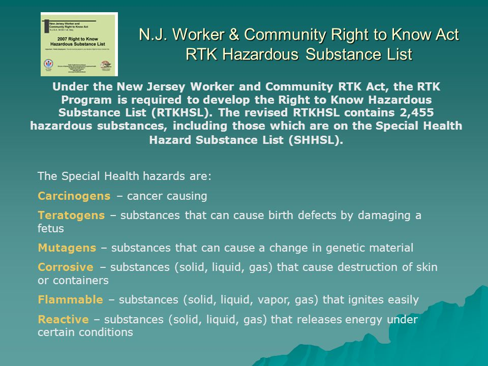 N.J. Worker & Community Right to Know Act RTK Hazardous Substance List