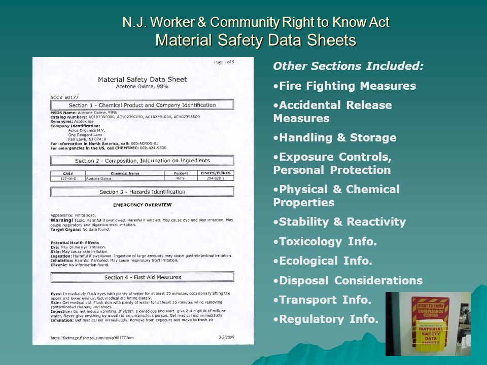 N.J. Worker & Community Right to Know Act Material Safety Data Sheets