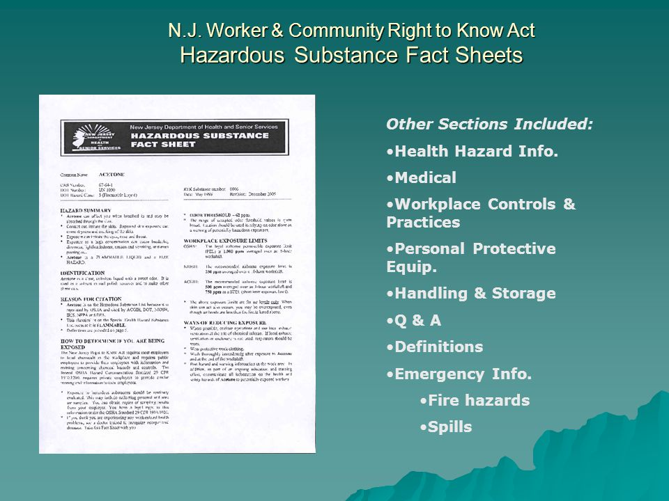 N.J. Worker & Community Right to Know Act Hazardous Substance Fact Sheets
