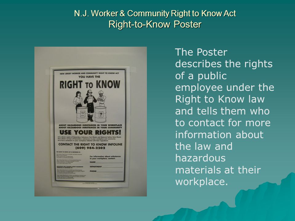 N.J. Worker & Community Right to Know Act Right-to-Know Poster