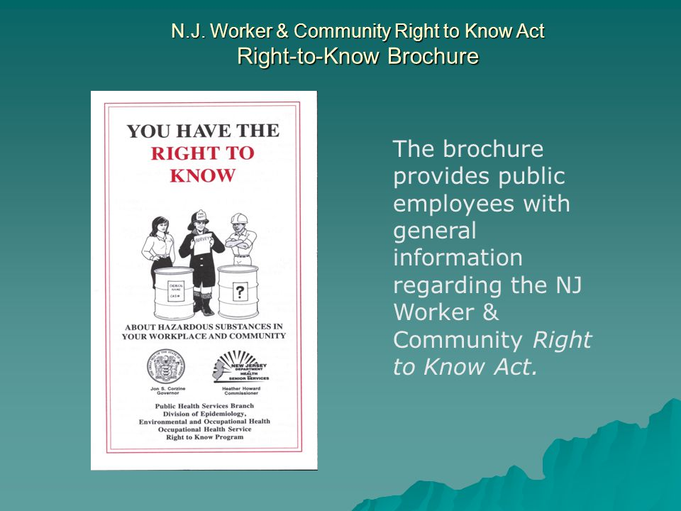 N.J. Worker & Community Right to Know Act Right-to-Know Brochure