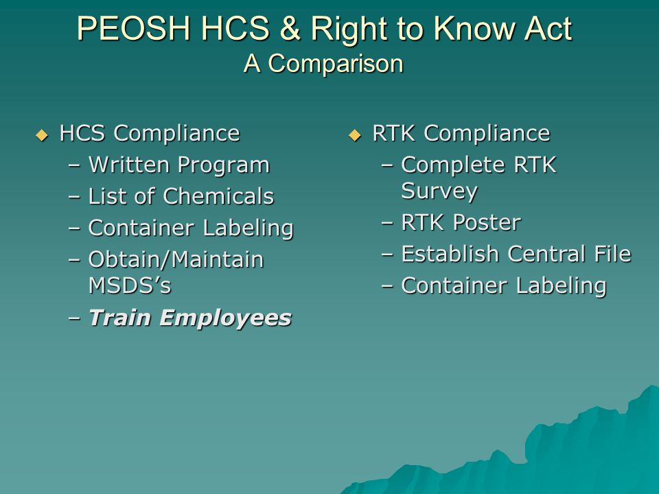 PEOSH HCS & Right to Know Act A Comparison