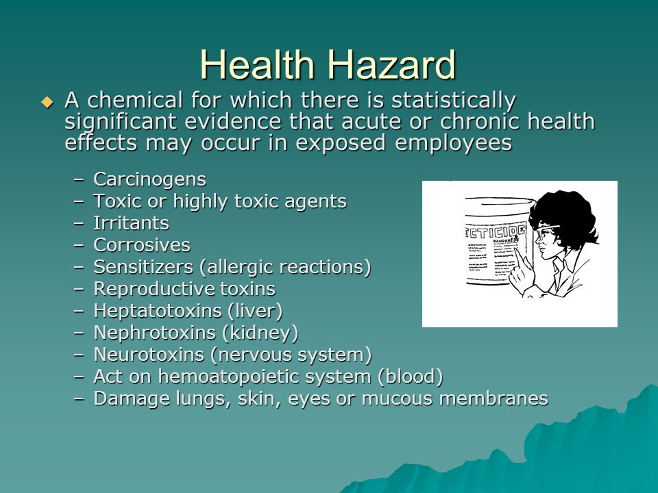 Health Hazard A chemical for which there is statistically significant evidence that acute or chronic health effects may occur in exposed employees.