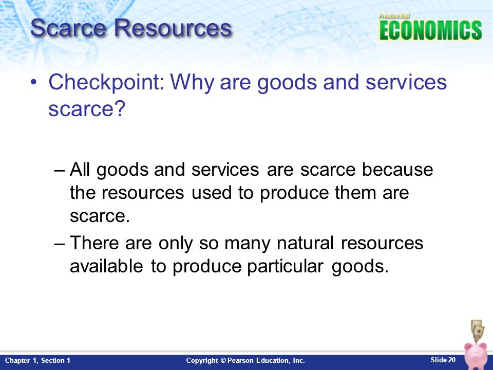 Scarce Resources Checkpoint: Why are goods and services scarce