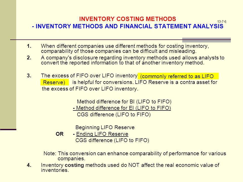 INVENTORY COSTING METHODS - INVENTORY METHODS AND FINANCIAL STATEMENT ANALYSIS