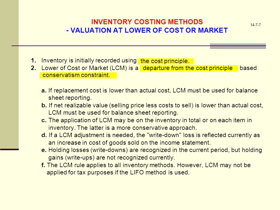 INVENTORY COSTING METHODS - VALUATION AT LOWER OF COST OR MARKET