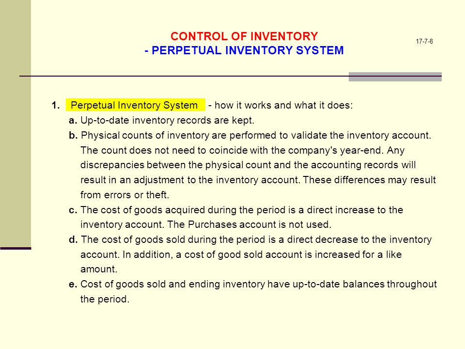 CONTROL OF INVENTORY - PERPETUAL INVENTORY SYSTEM