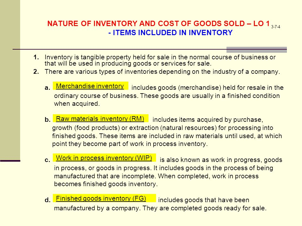NATURE OF INVENTORY AND COST OF GOODS SOLD – LO 1 - ITEMS INCLUDED IN INVENTORY