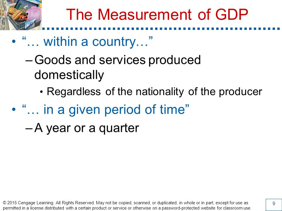 The Measurement of GDP … within a country…