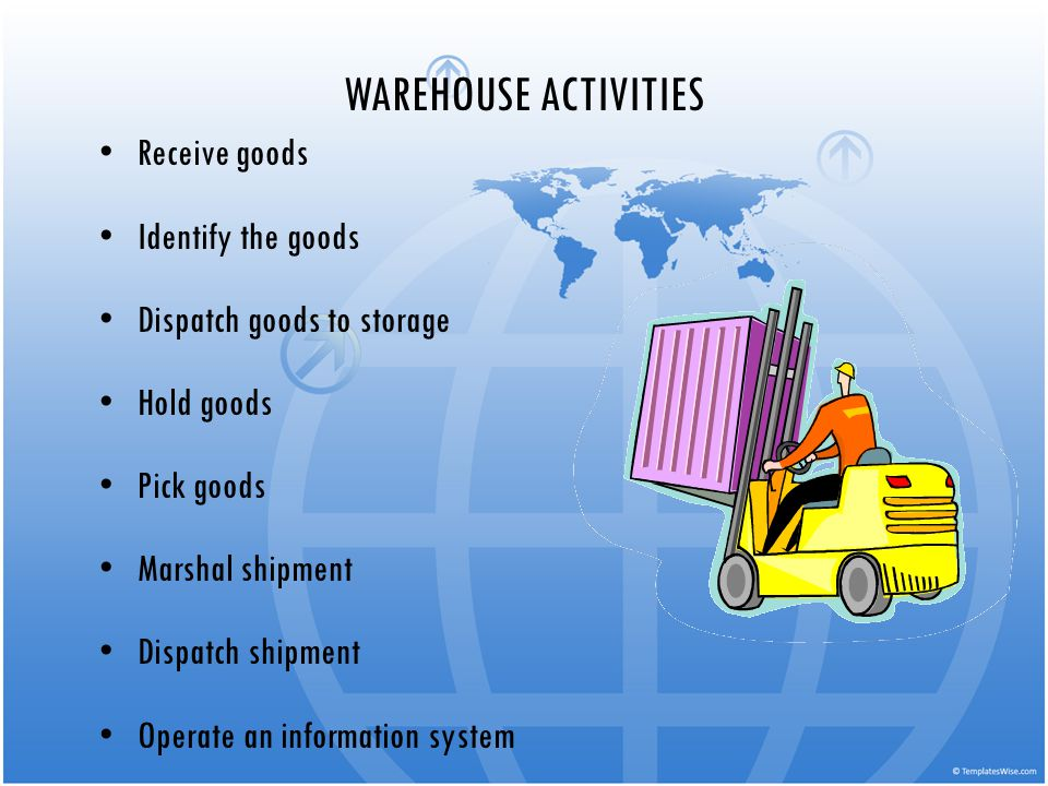 WAREHOUSE ACTIVITIES Receive goods Identify the goods