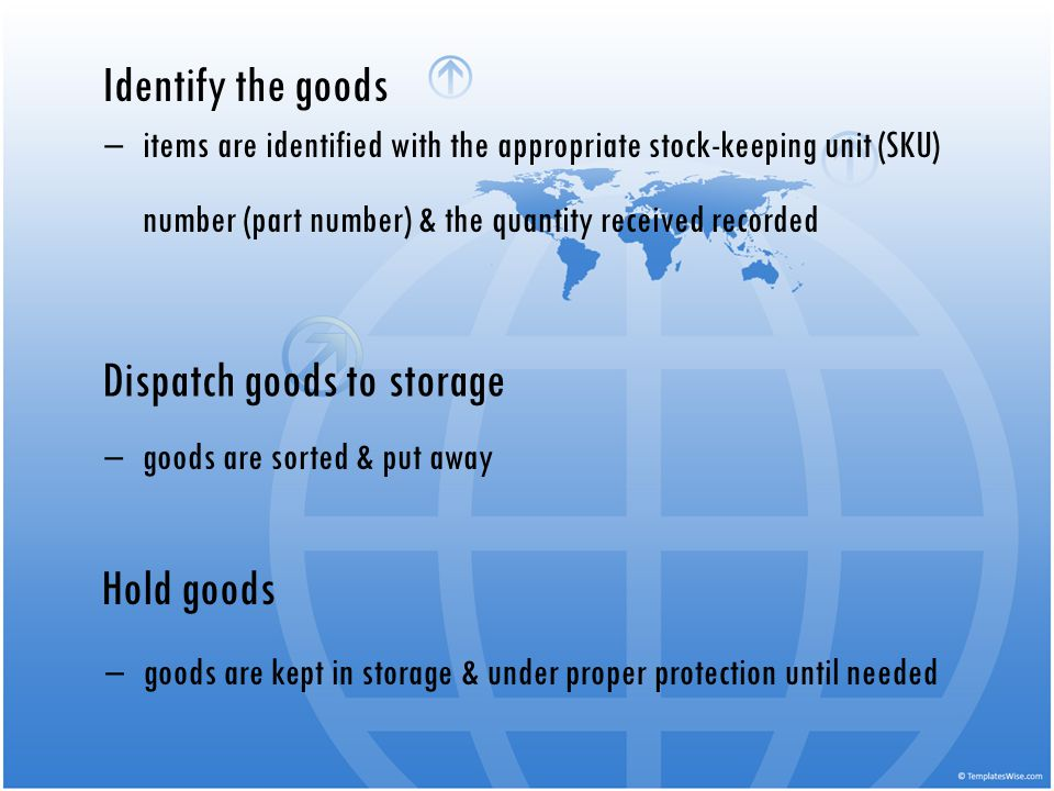 Dispatch goods to storage