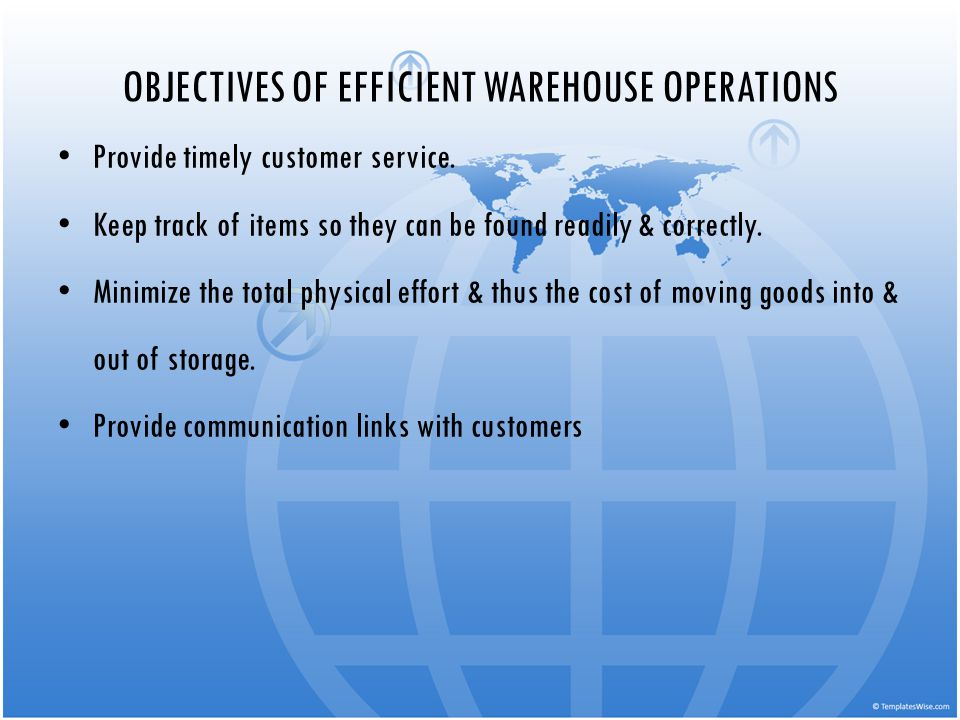 OBJECTIVES OF EFFICIENT WAREHOUSE OPERATIONS