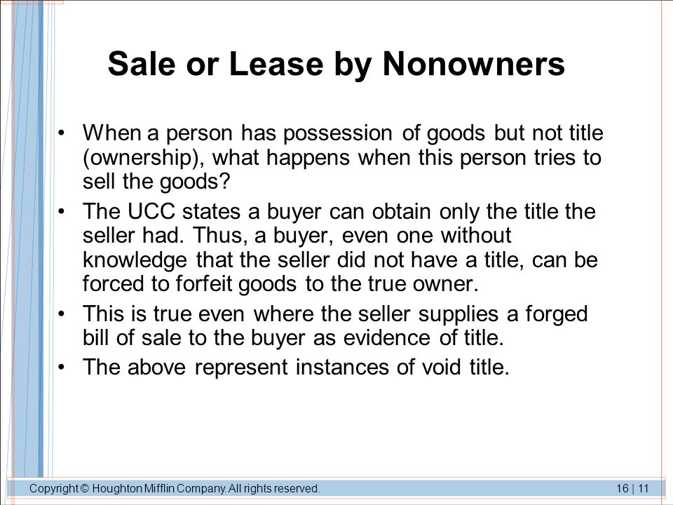 Sale or Lease by Nonowners