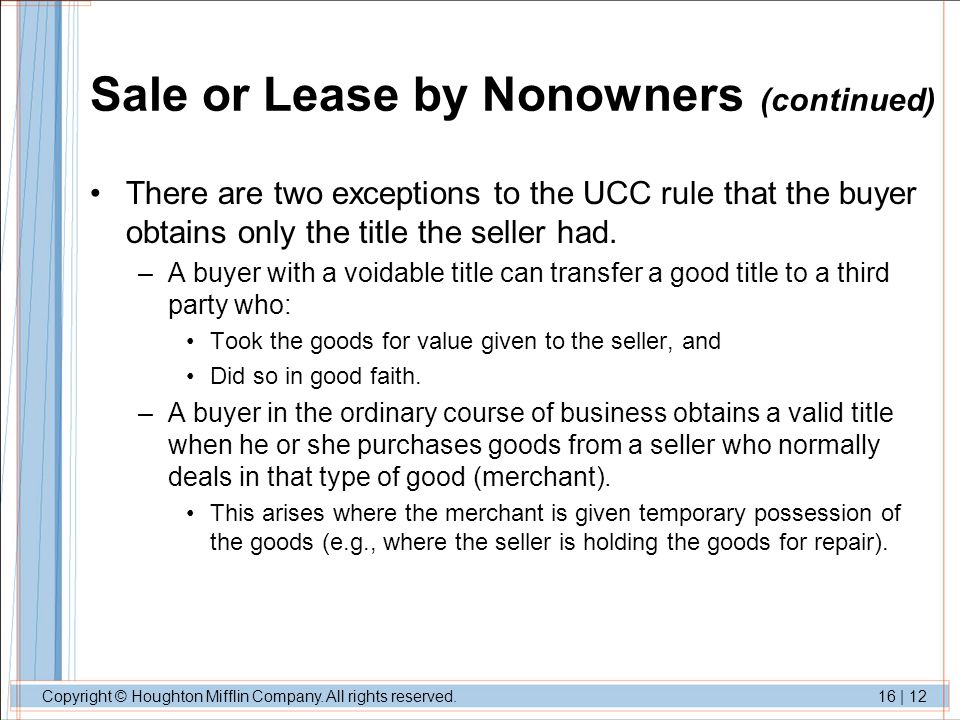 Sale or Lease by Nonowners (continued)