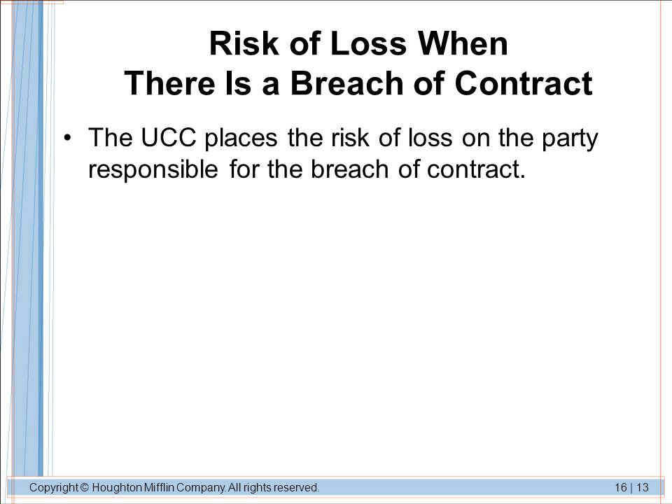 Risk of Loss When There Is a Breach of Contract