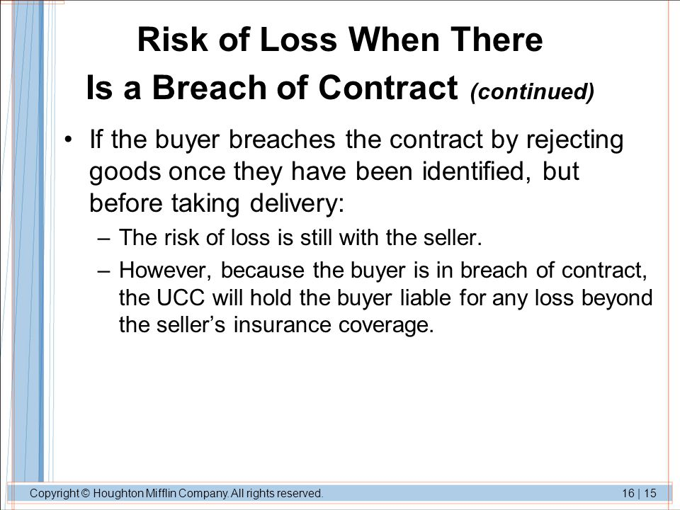Risk of Loss When There Is a Breach of Contract (continued)