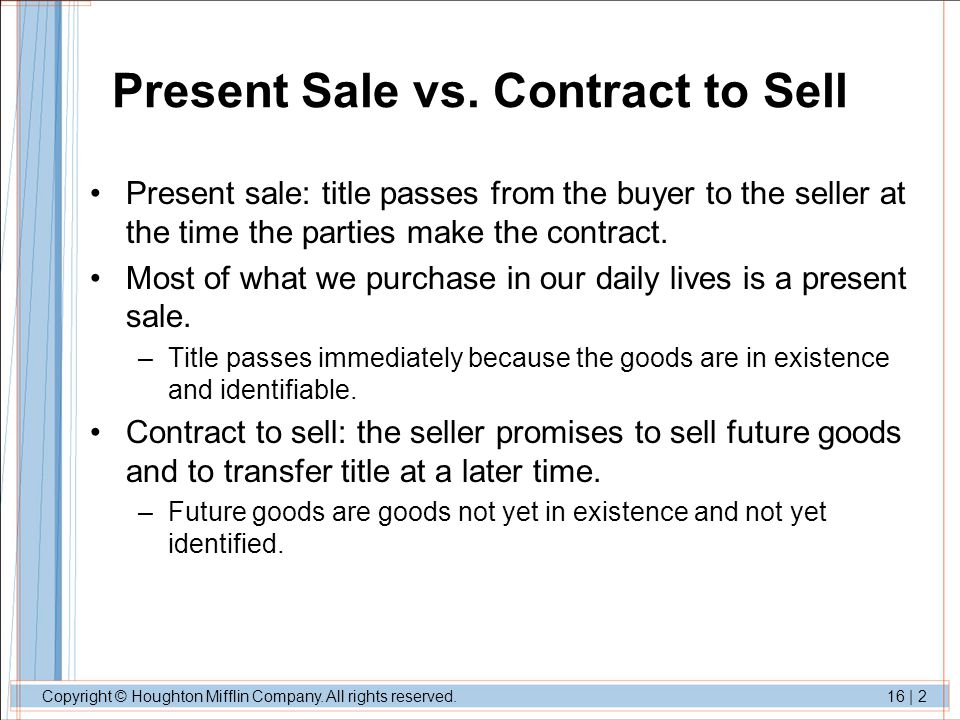 Present Sale vs. Contract to Sell
