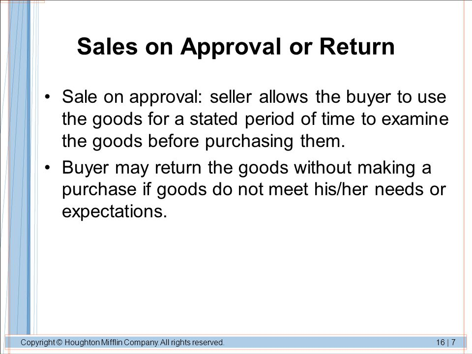 Sales on Approval or Return