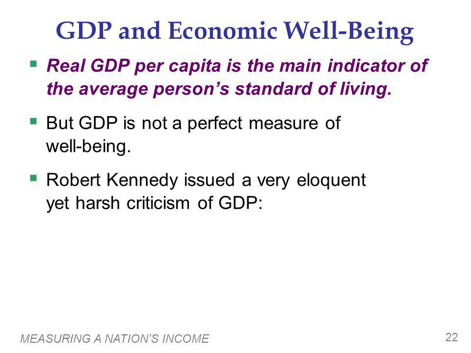 GDP Does Not Value: the quality of the environment leisure time