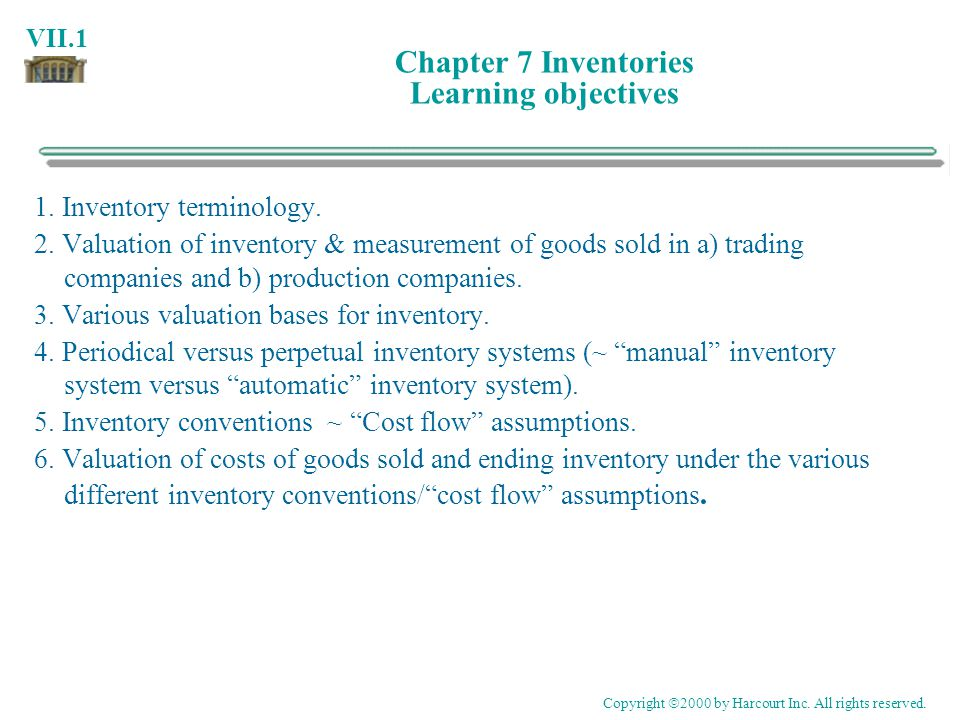 Chapter 7 Inventories Learning objectives